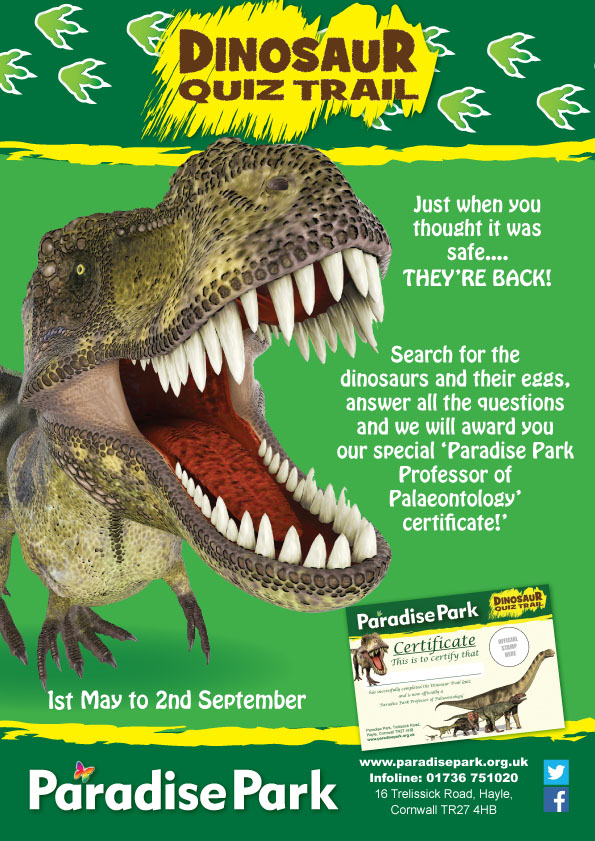Dinosaur Quiz Poster At Paradise Park Paradise Park