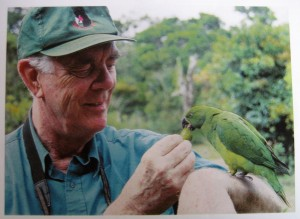 Mike Reynolds with echo Parakeet Paradise Park