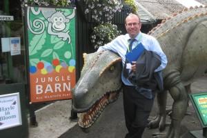 Judge Richard Budge meets Dave the Dinosaur