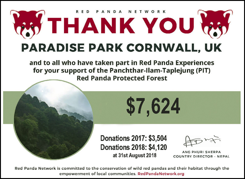 Red Panda Network certificate to Paradise Park